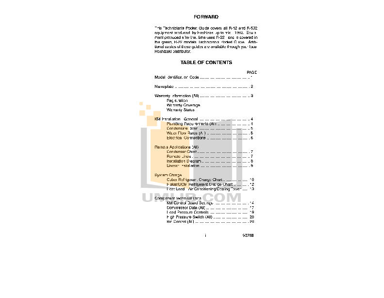 pdf for Hoshizaki Other KM-251BAH Cuber Machines manual