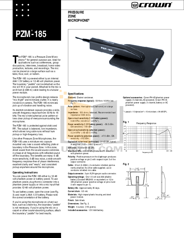 pdf for Crown Other PZM-30R Microphones manual