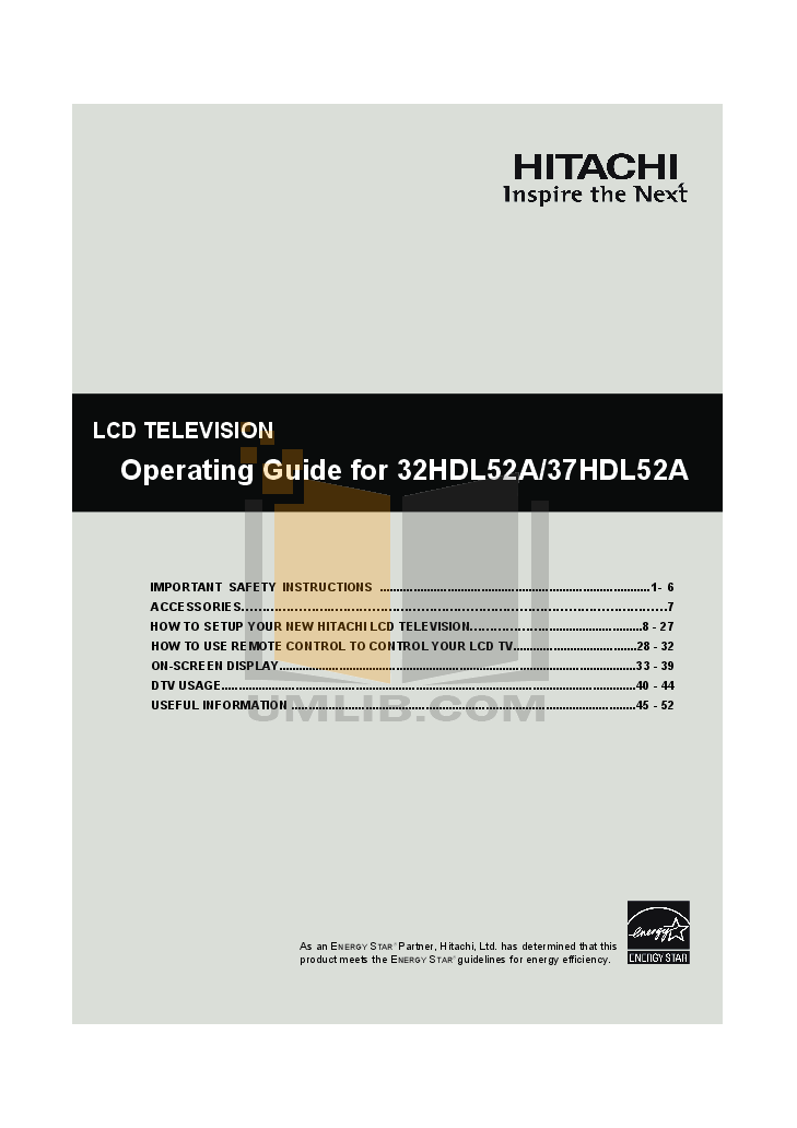pdf for Hitachi TV 32HDL52A manual