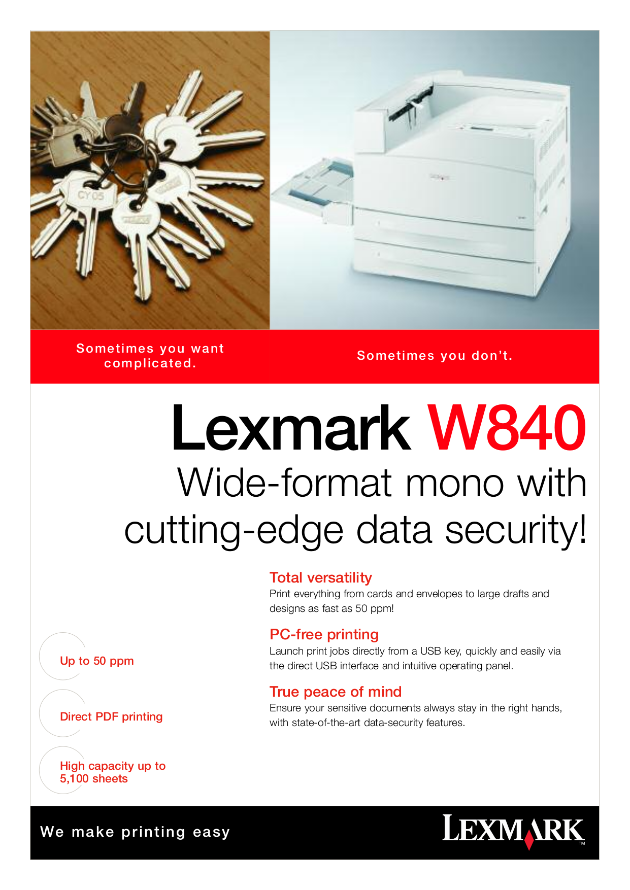 pdf for Lexmark Printer W840n manual