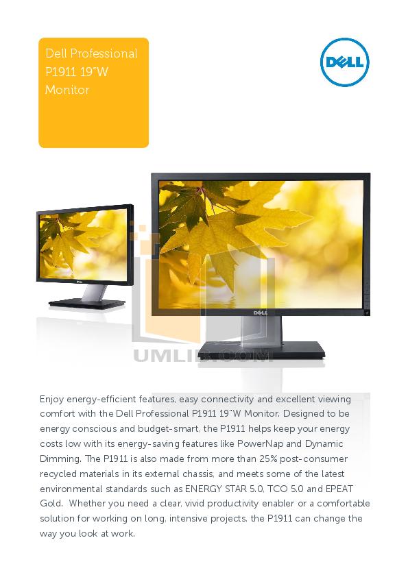 pdf for Dell Monitor P1911 manual