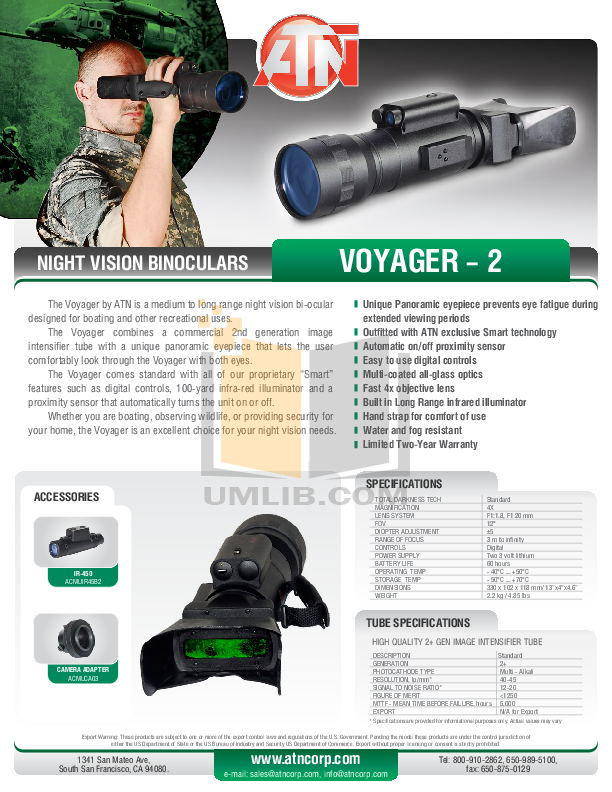 pdf for Atn Binocular Voyager 2 manual