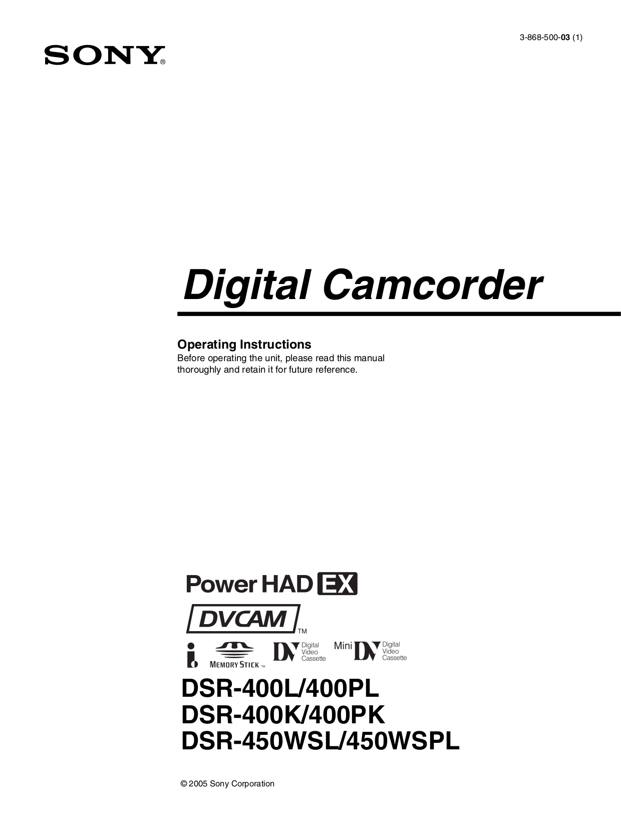 Sony i manual pdf pdf for sony camcorders dsr 450wsl manual fandeluxe Choice Image