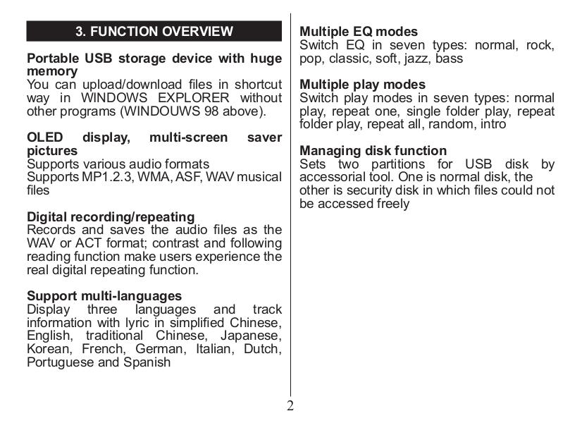 PDF manual for Nextar MP3 Player MA201 2GB