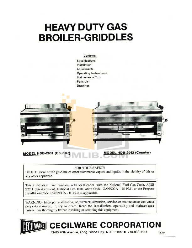 pdf for Cecilware Other HDB-2042 Broilers-Griddles manual