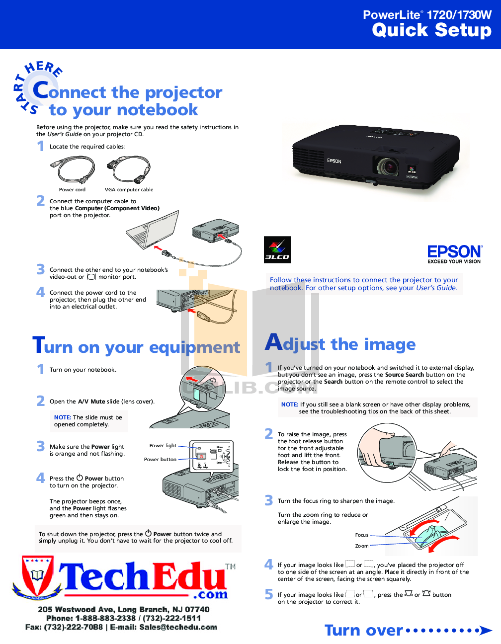 pdf for Epson Projector PowerLite 1730W manual