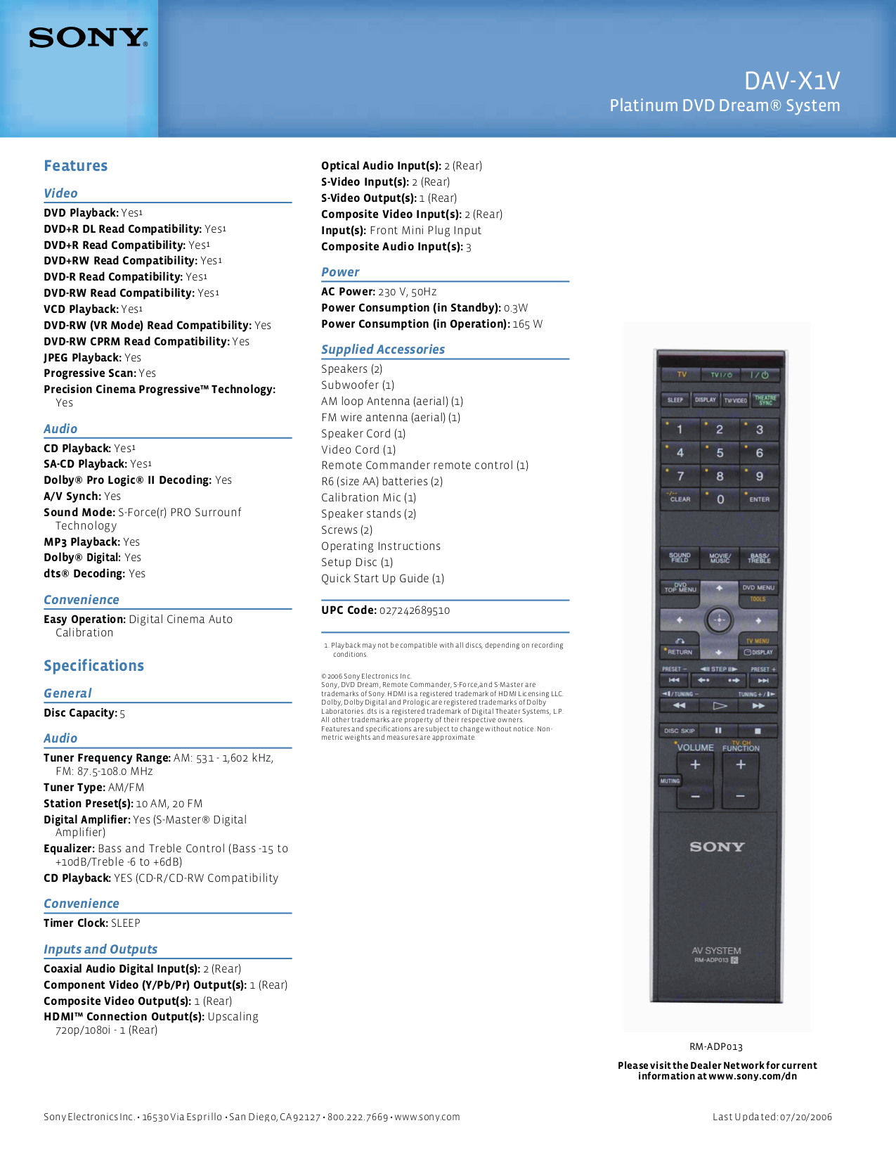 PDF manual for Sony Home Theater DAV-X1V