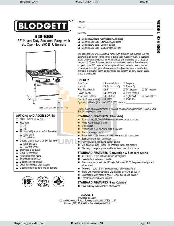 pdf for Blodgett Range B36-BBB manual