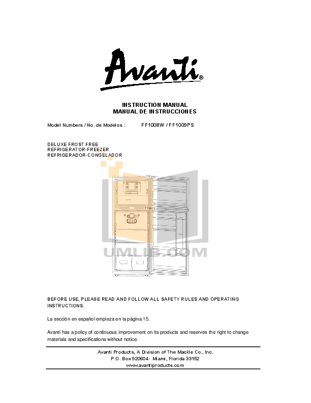 pdf for Avanti Refrigerator FF1009PS manual