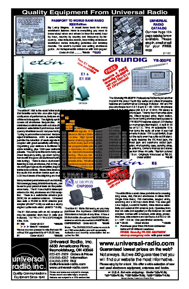 Download Free Pdf For Eton E1xm Radio Manual Manual Guide
