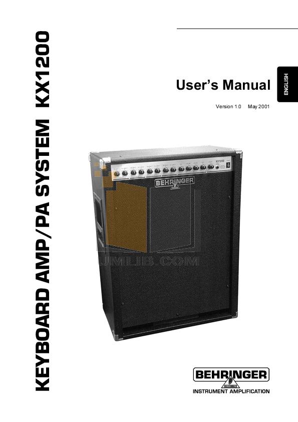 pdf for Behringer Amp KX1200 manual