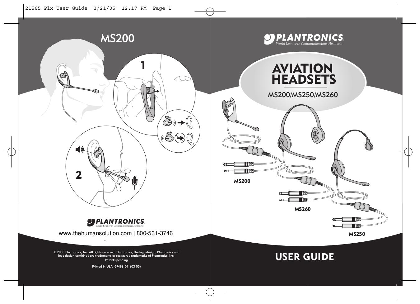Download free pdf for Plantronics Aviation MS200 Headset manual