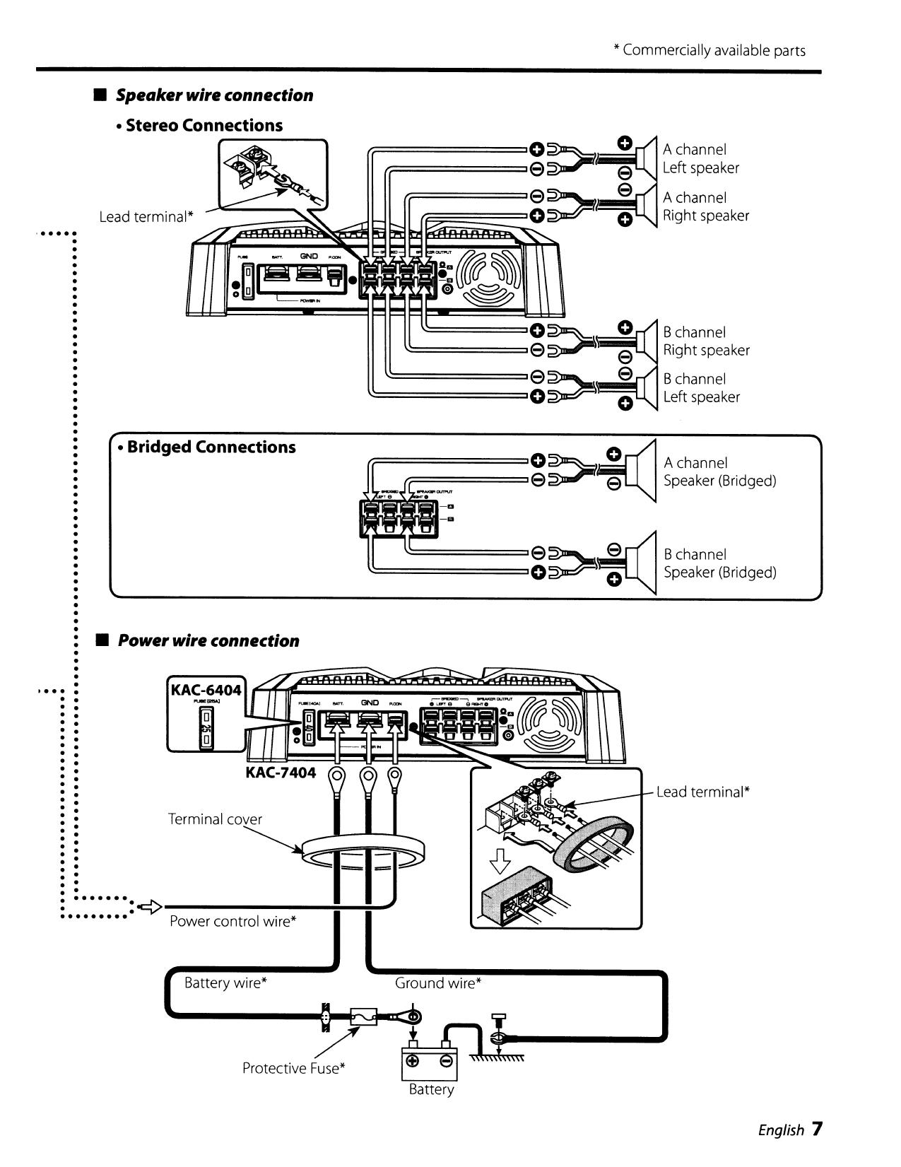 PDF manual for Kenwood Car Amplifier KAC-6404 on