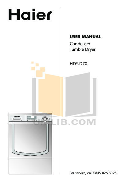 pdf for Haier Dryer HDY-D70-E manual