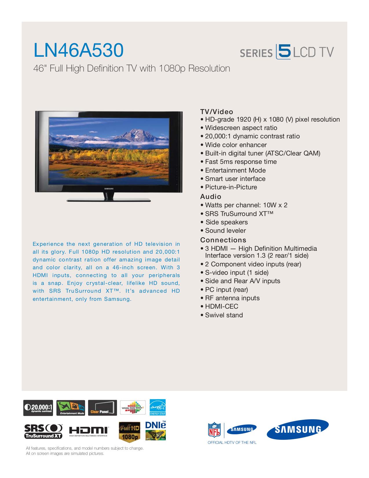 download free pdf for samsung ln46a530 tv manual rh umlib com Samsung User Manual Guide Samsung Galaxy S Manual
