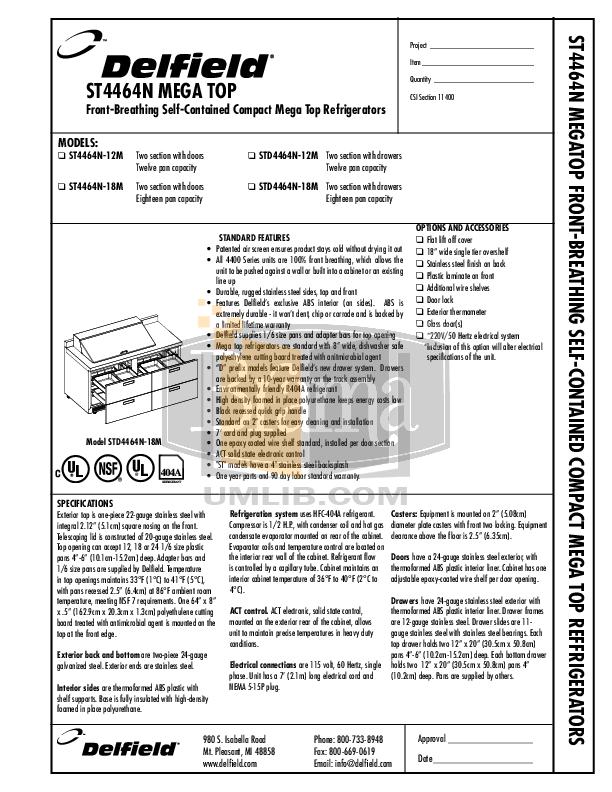 pdf for Delfield Refrigerator STD4464N manual