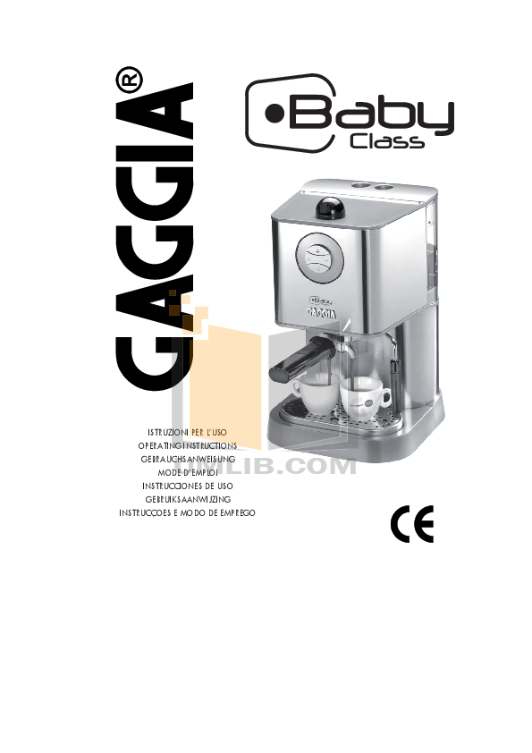 Download free pdf for Gaggia New Baby Class D Coffee Maker manual