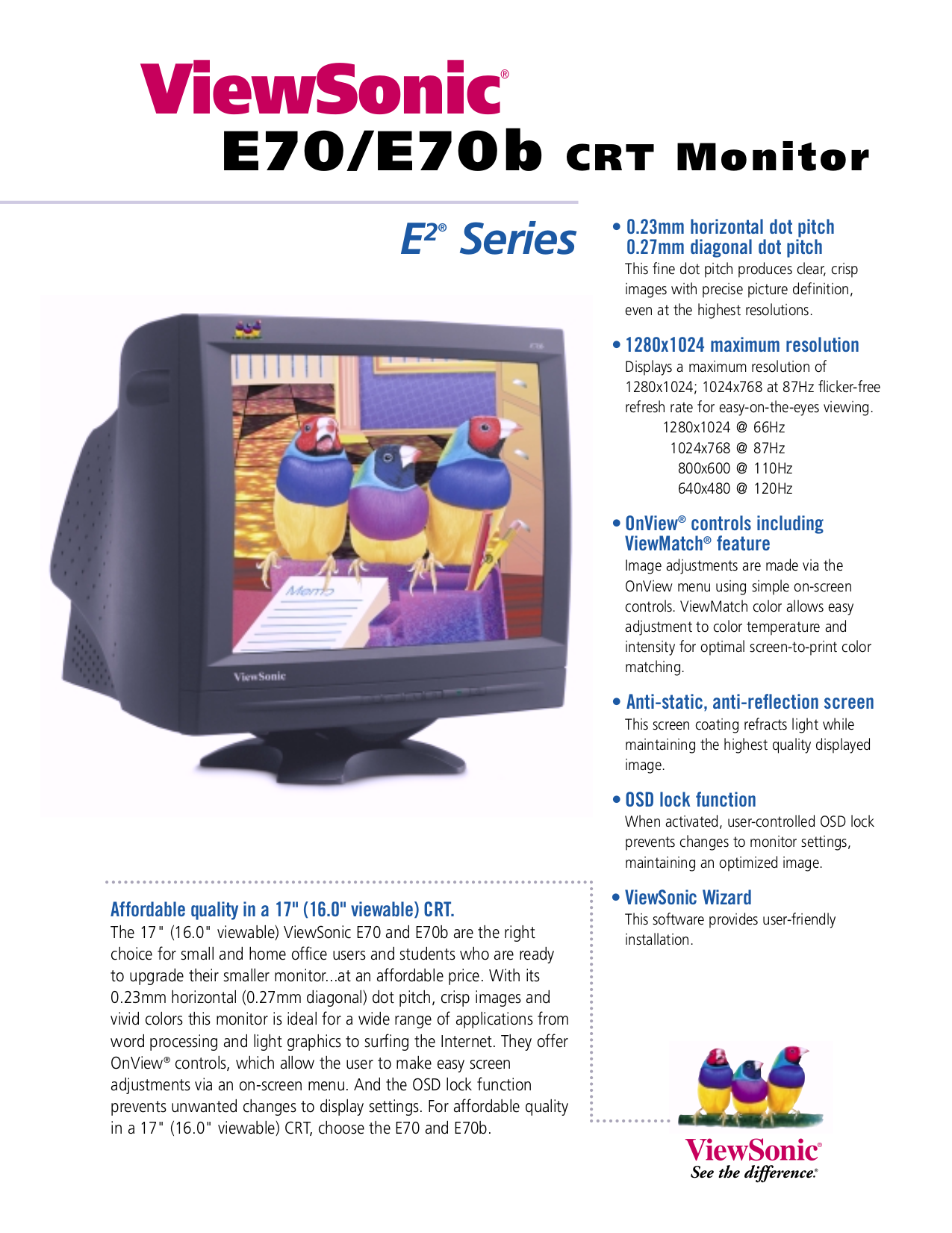 Download free pdf for Viewsonic E70B Monitor manual