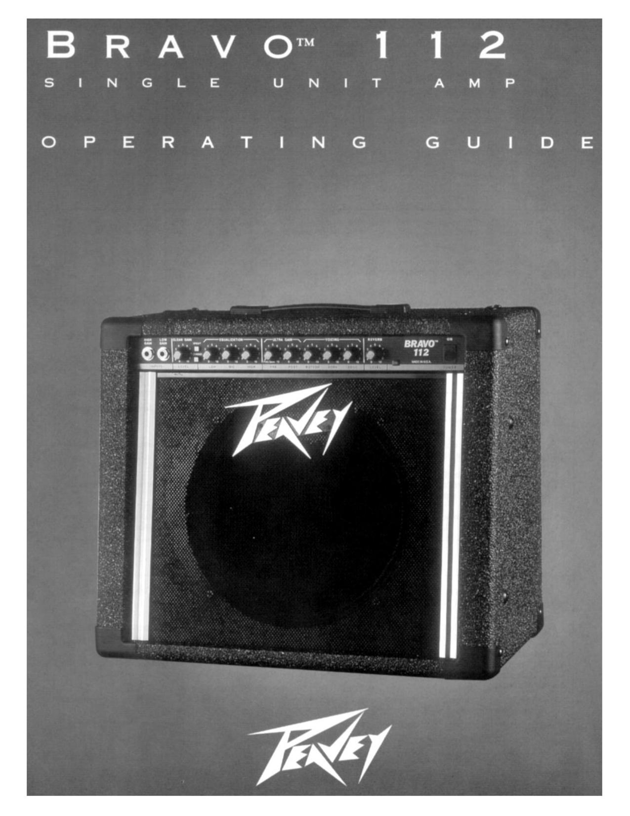 Download free pdf for Peavey Bravo 112 Amp manual