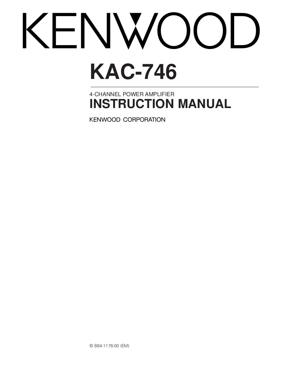 pdf for Kenwood Amp KAC-746 manual