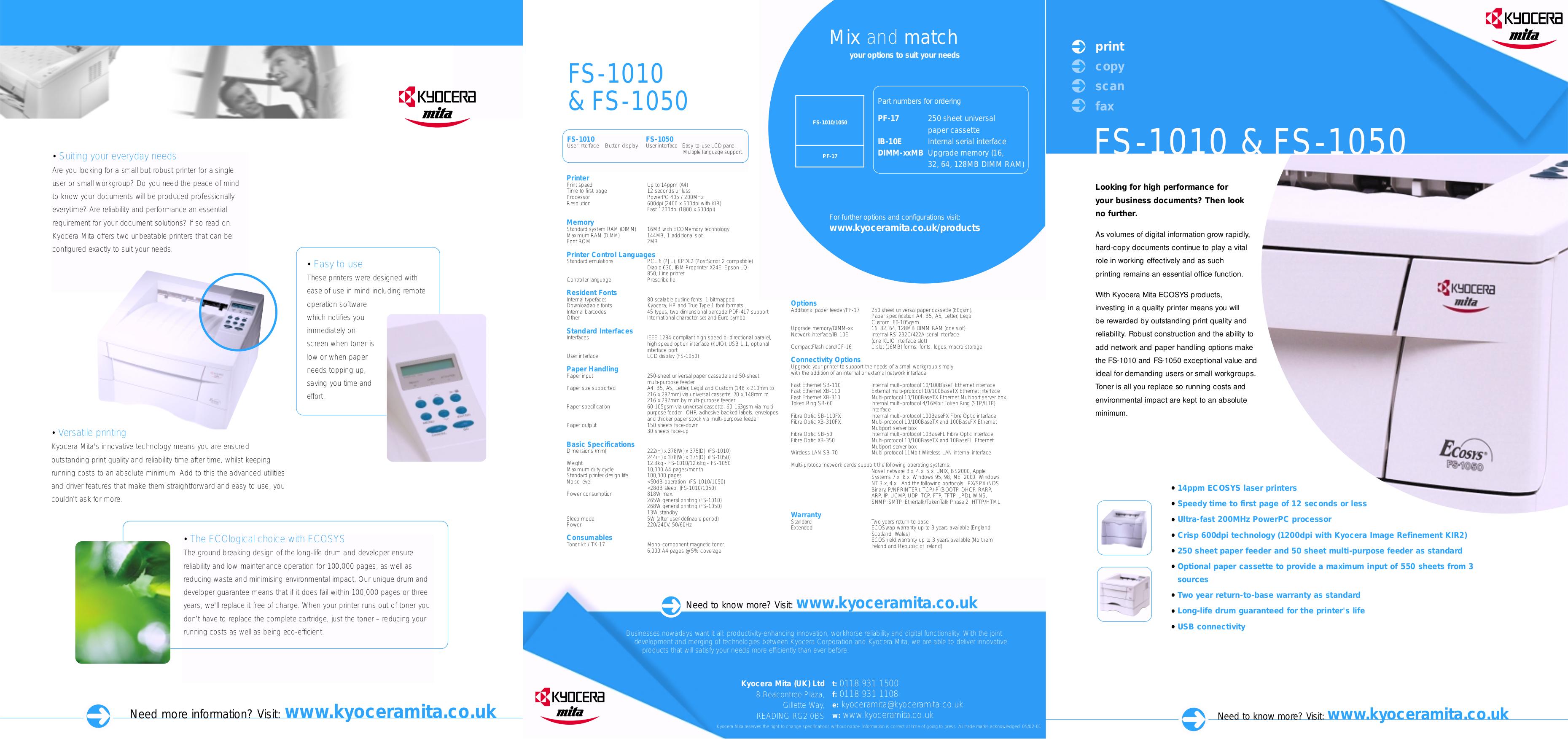 Download free pdf for Kyocera FS-1010 Printer manual