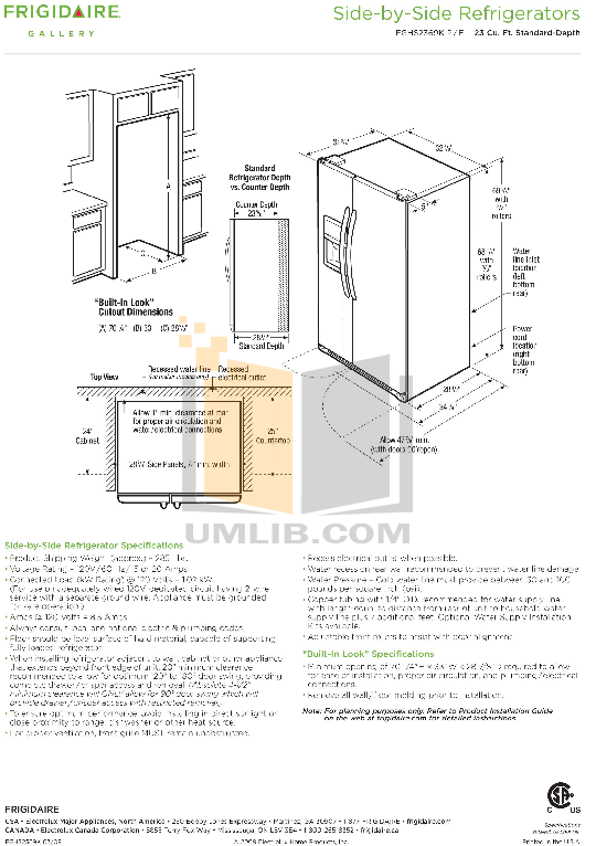 pdf for Frigidaire Refrigerator Gallery FGHS2369K manual