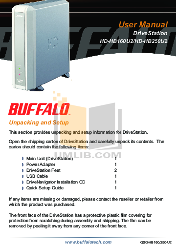 pdf for Buffalo Storage HD-HB250U2 manual