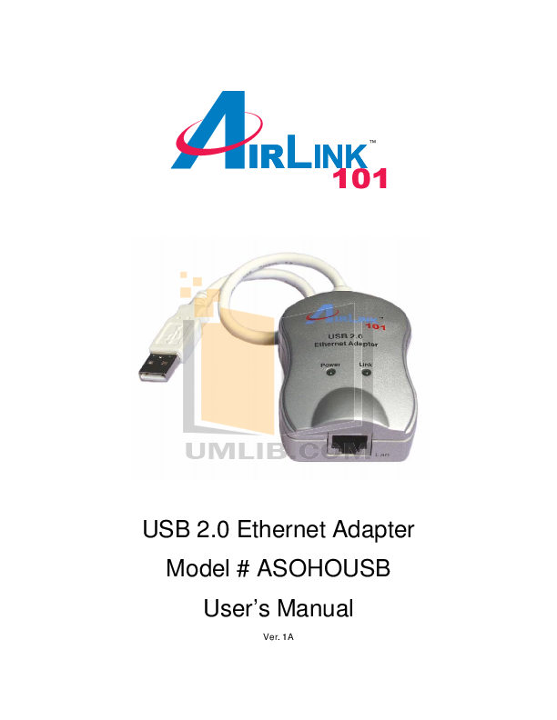 pdf for Airlink Other ASOHOUSB Adapters manual