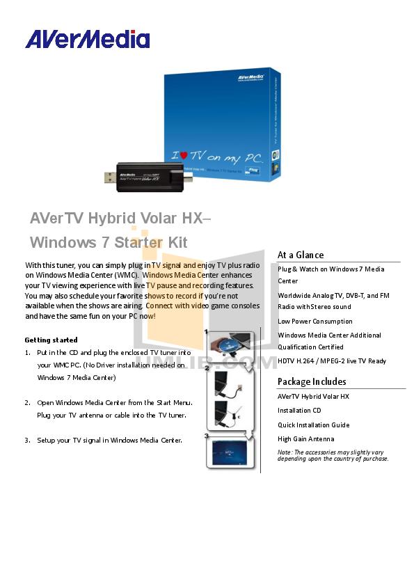 pdf for Avermedia Other AVerTV Hybrid Volar HX TV Tuner Cards manual