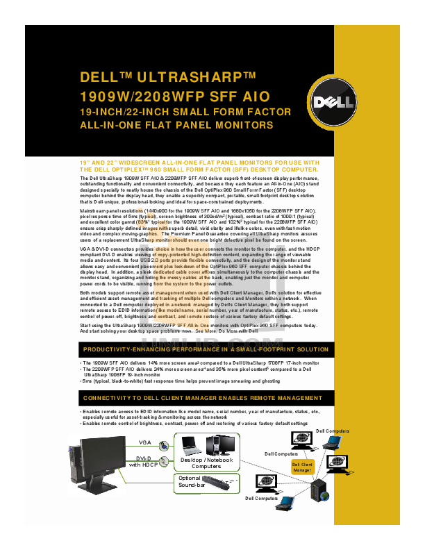 pdf for Dell Monitor UltraSharp 1909W manual