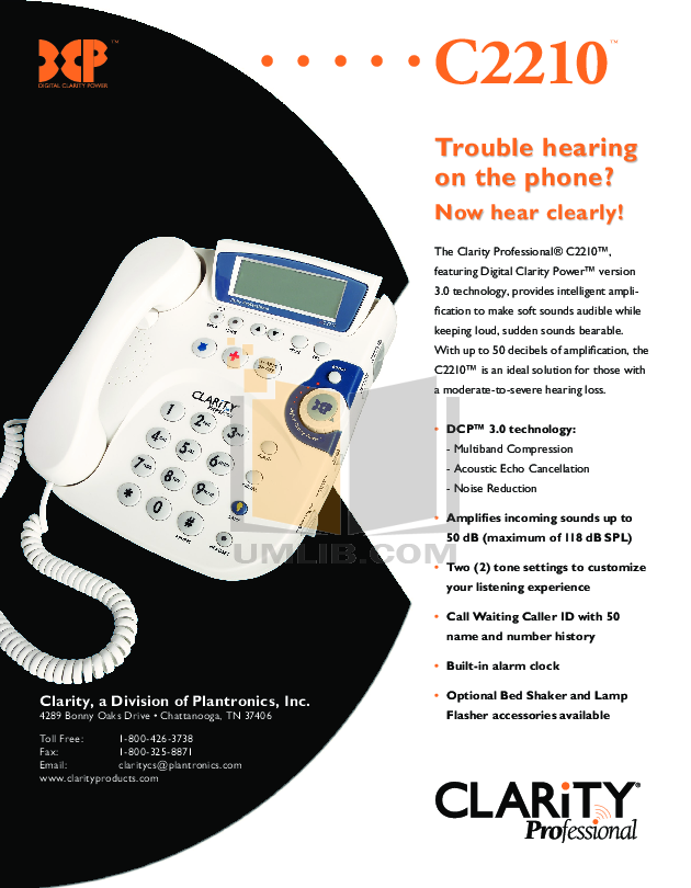 pdf for Clarity Telephone C2210 manual