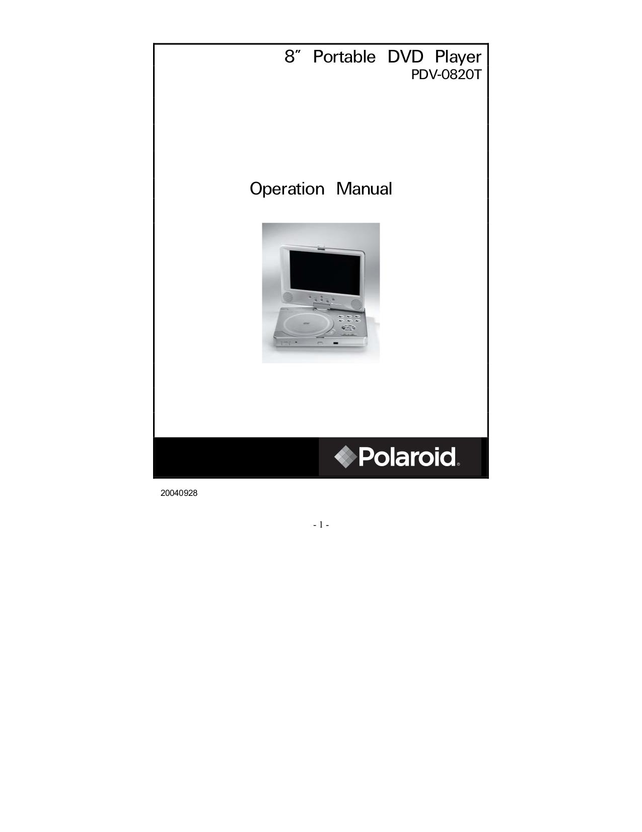 download free pdf for polaroid pdv 0820t portable dvd player manual rh umlib com Polaroid Portable DVD Player PDM-0711 Lens Polaroid Portable DVD Player Battery
