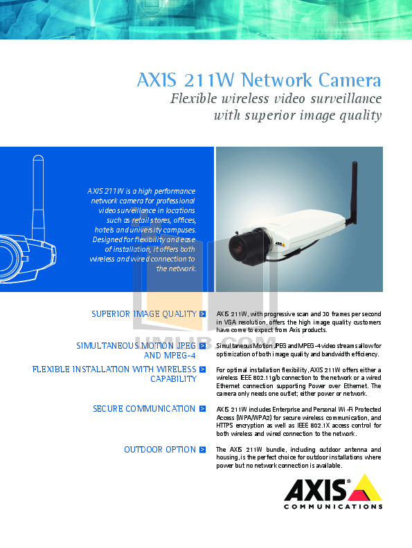 pdf for Axis Security Camera 211W manual