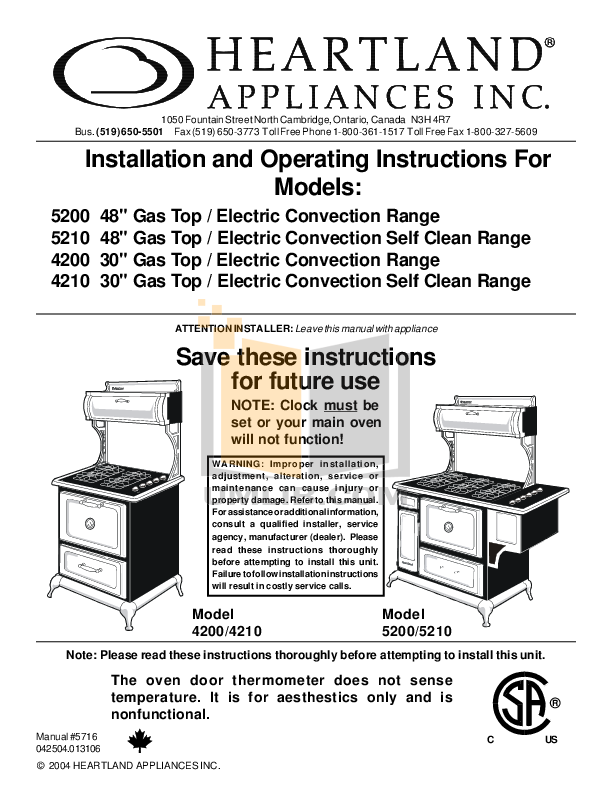 pdf for Heartland Range Classic 4210 manual