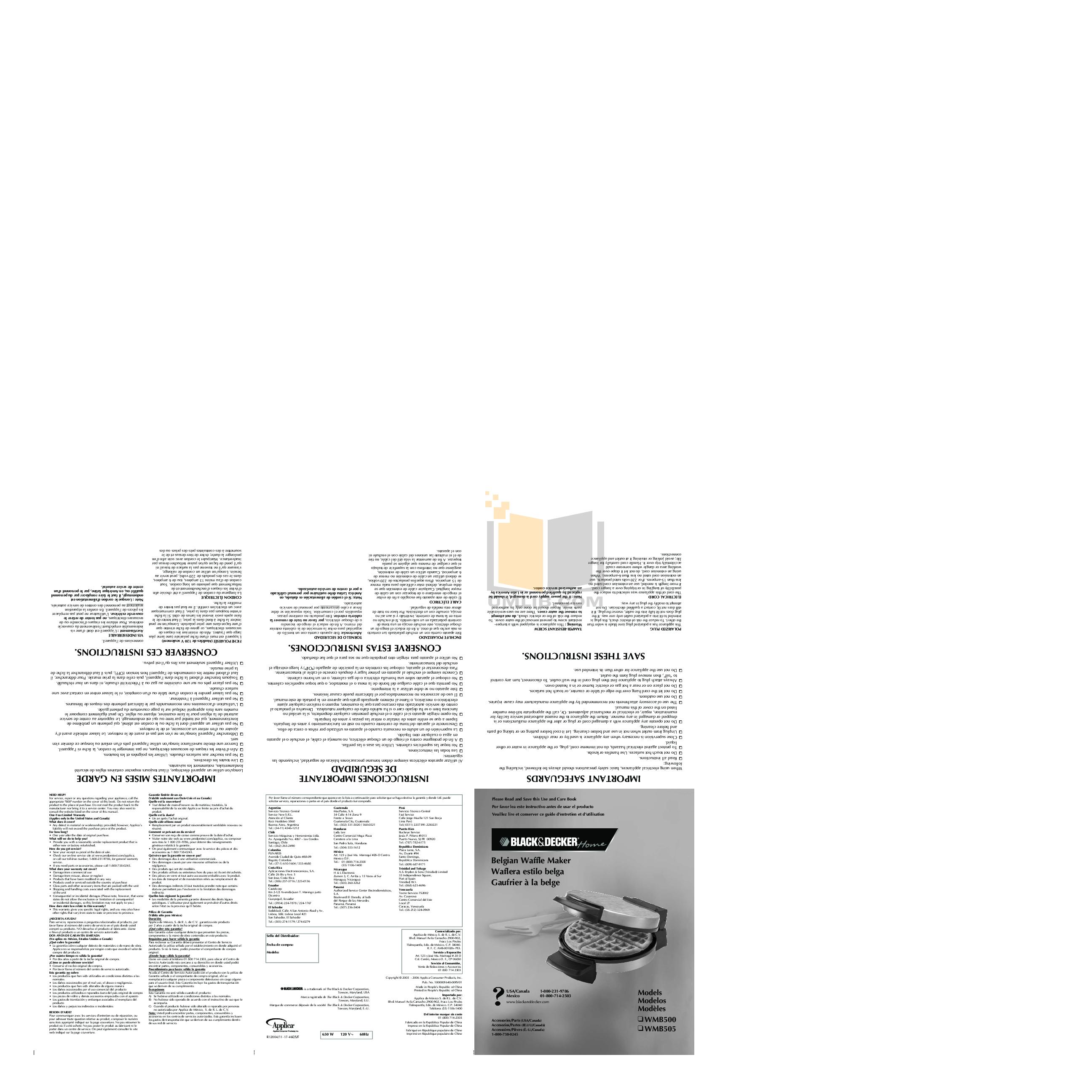 pdf for BlackAndDecker Oven WMB505 manual
