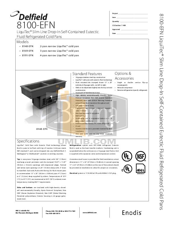pdf for Delfield Other 8169-EFN Cold Pans manual