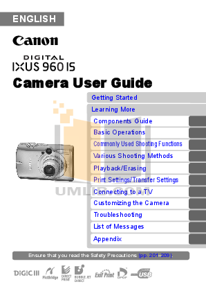 pdf for Canon Digital Camera IXUS 980 IS manual