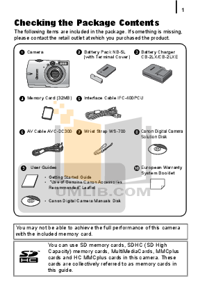 Canon Digital Camera IXUS 980 IS pdf page preview