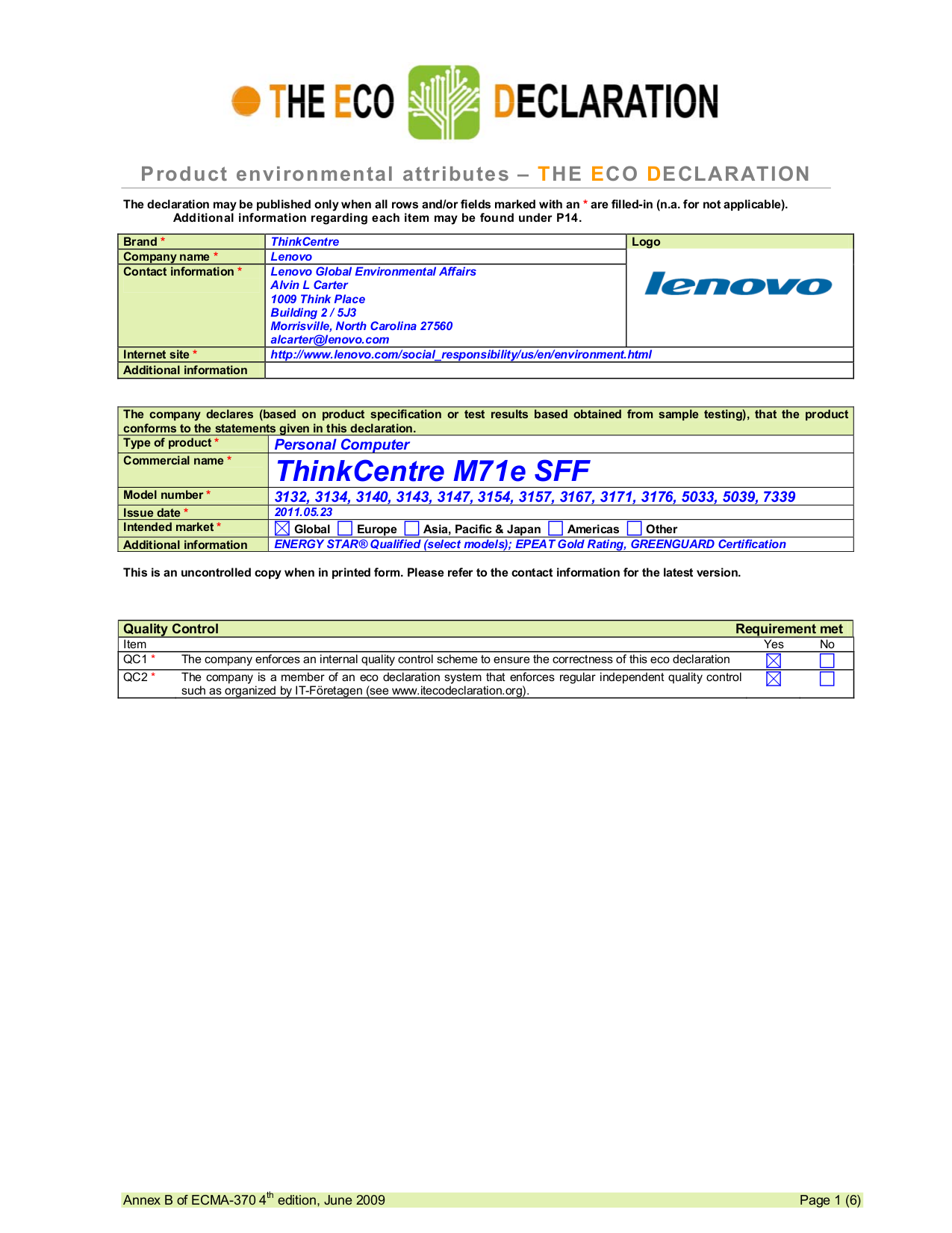 pdf for Lenovo Desktop ThinkCentre M71e 3167 SFF manual