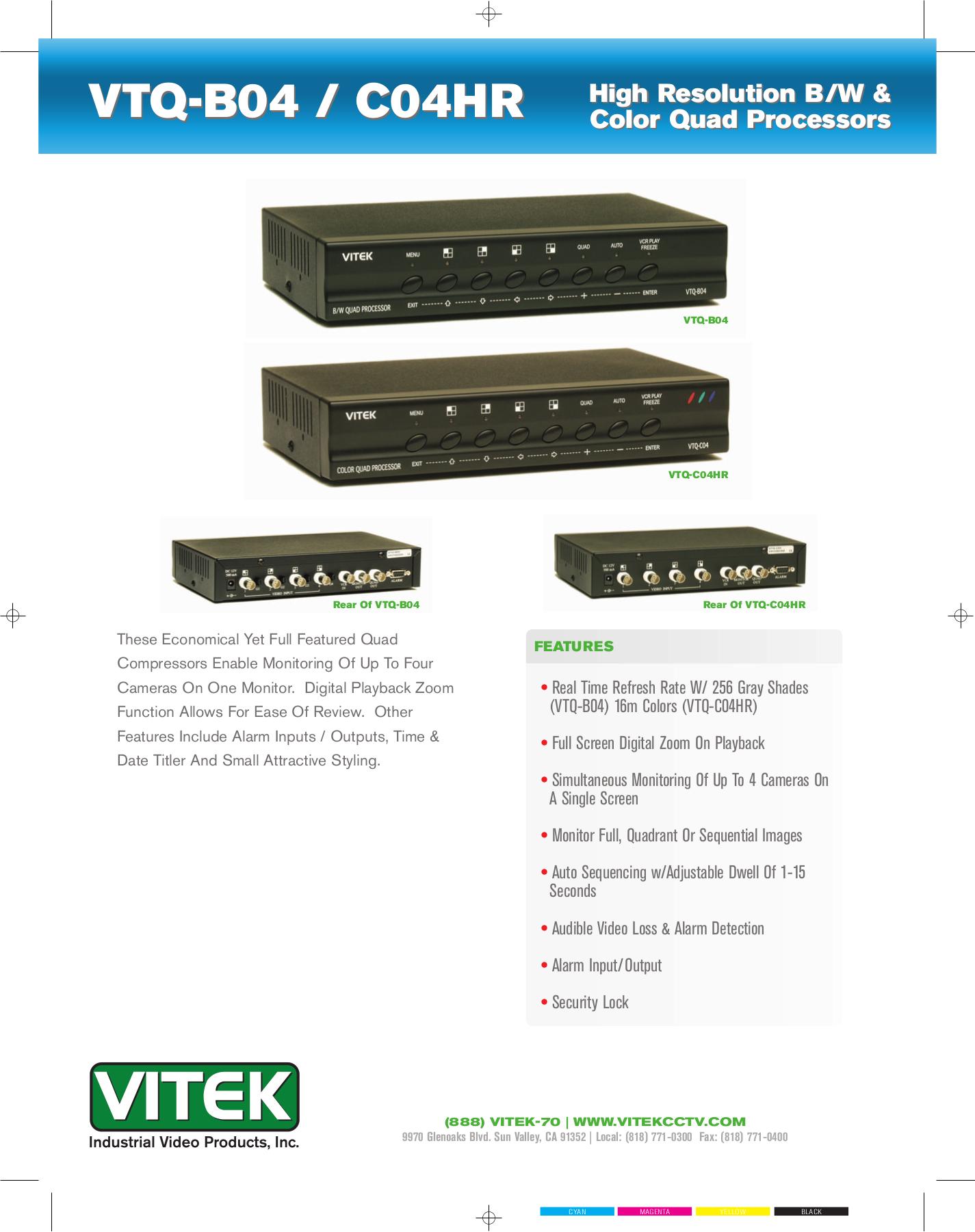 pdf for Vitek Other VTQ-B04 Processors manual