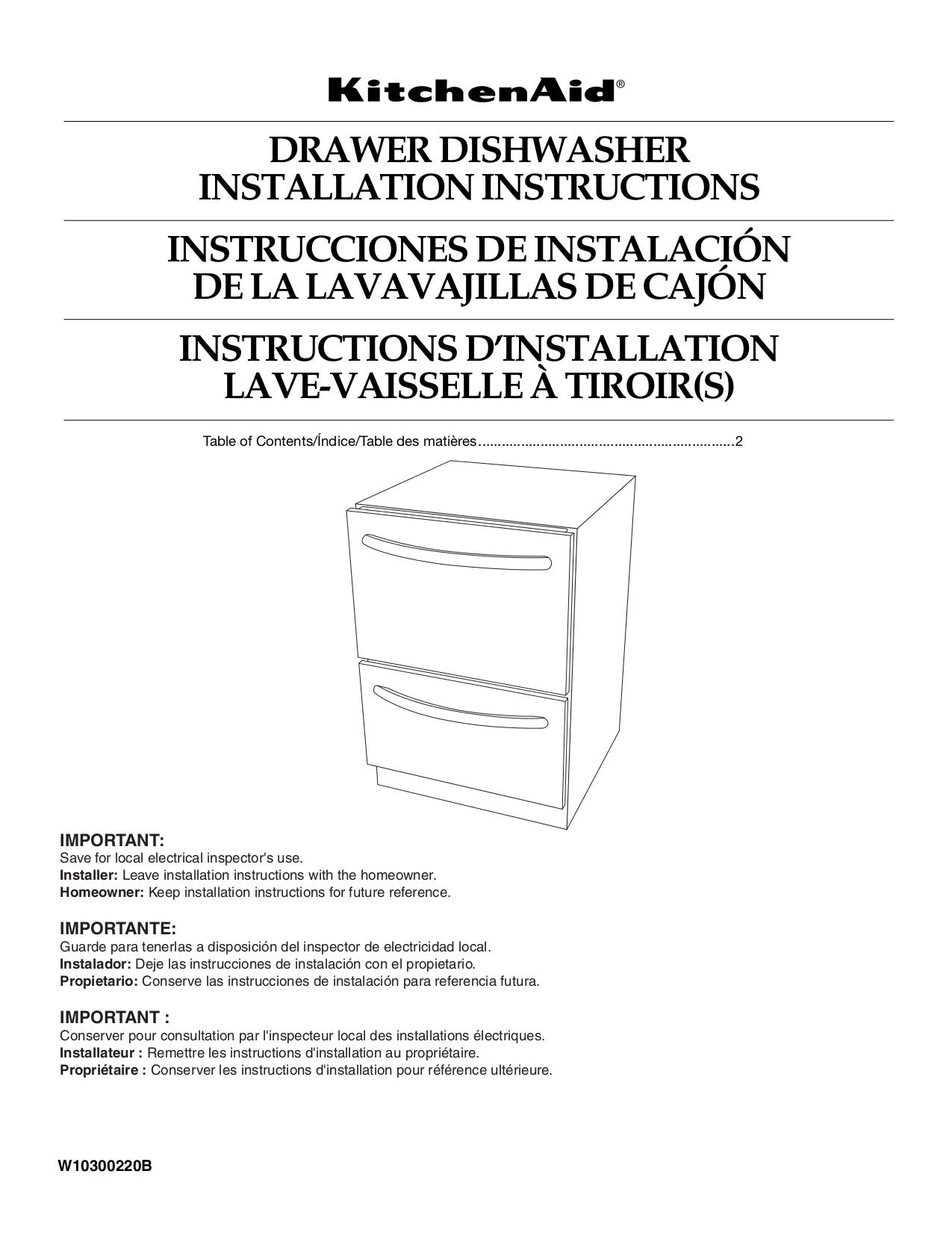 Pdf Manual For Kitchenaid Dishwasher Kudd03dtss Manual Guide