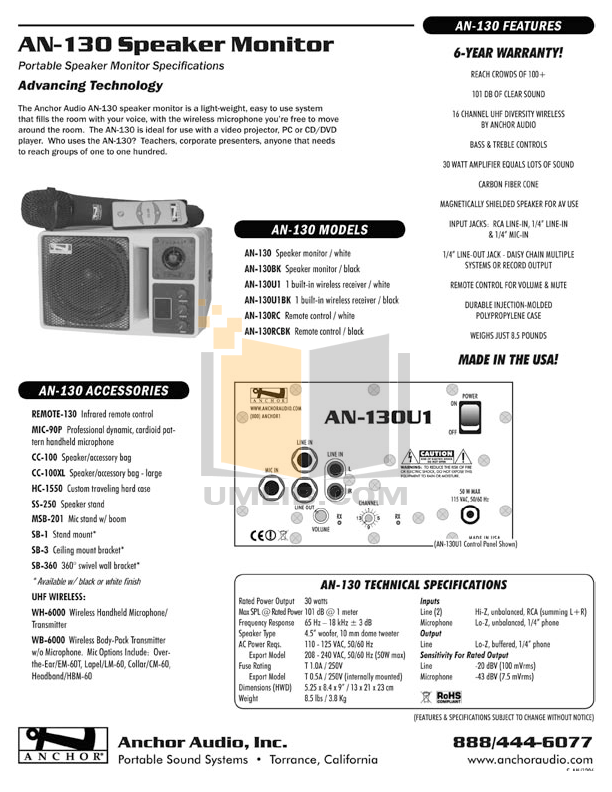 Anchor Speaker AN-130BK pdf page preview