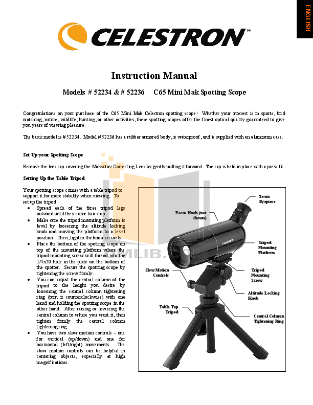 pdf for Celestron Other C65 Spotting Scopes manual