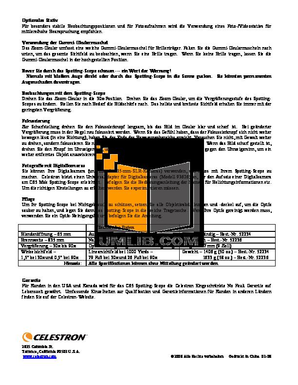 Celestron Other C65 Spotting Scopes pdf page preview