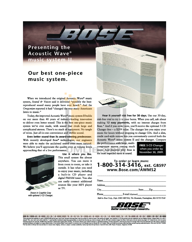 Download free pdf for Bose Acoustic Wave music system II CD