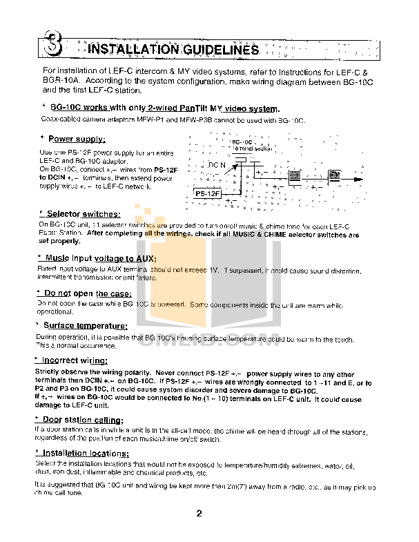 Aiphone Other MYW-CA Intercoms-Accessory pdf page preview