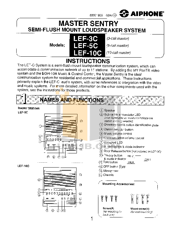 pdf for Aiphone Other MYW-CA Intercoms-Accessory manual