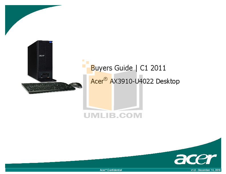 pdf for Acer Desktop Aspire X3910 manual