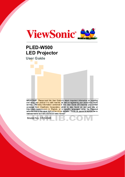 pdf for Benq Projector W500 manual