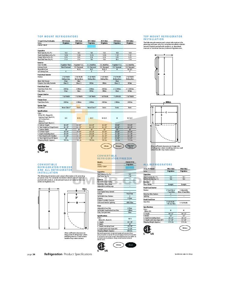 pdf for Frigidaire Refrigerator FRT17HB3J manual
